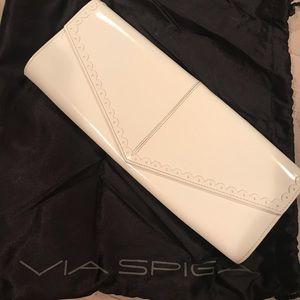 Via Spiga white leather envelope clutch bag